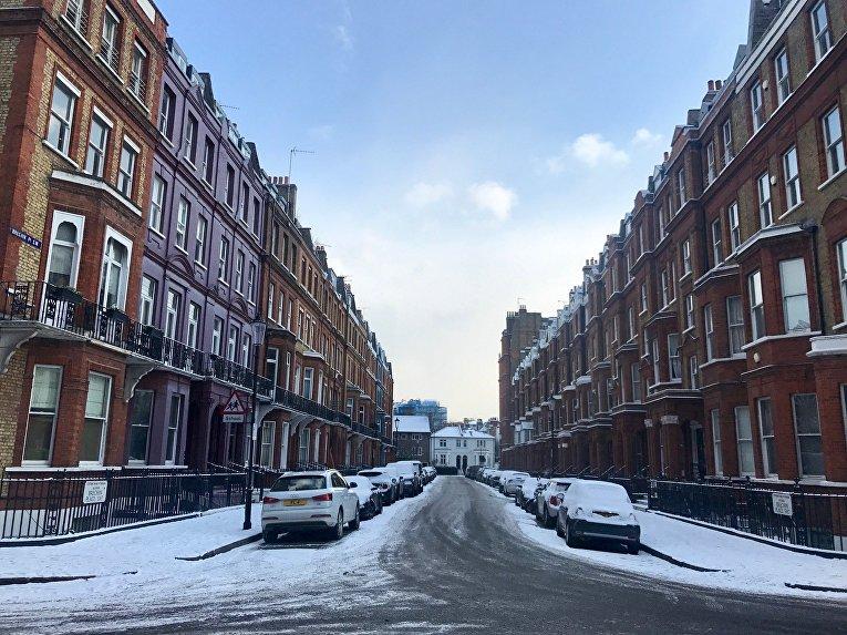 Снег, выпавший на улицах Лондона. 28 февраля 2018