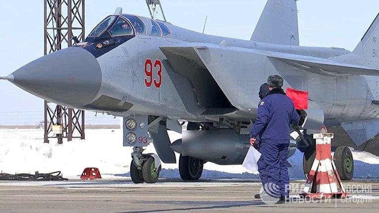 """МиГ-31 ВКС провел учебный пуск гиперзвуковой ракеты """"Кинжал"""""""