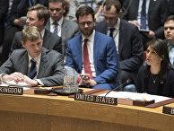 Заместитель посла Великобритании в ООН Джонатан Аллен и американский посол при ООН Никки Хейли