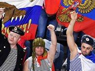Российские болельщики во время матча группового этапа чемпионата мира по хоккею 2017 между сборными командами России и Дании