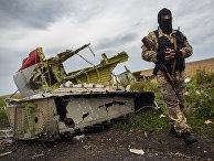 Ополченец на месте крушения лайнера Boeing 777 Малайзийских авиалиний в районе города Шахтерск Донецкой области