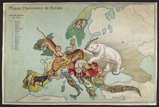 Карикатура А. Суареса, опубликована в 1914 году в Португалии