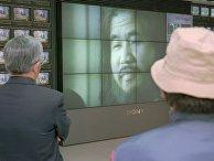 Видеосюжет об основателе секты Шоко Асахара в Токио