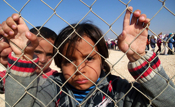 Дети в лагере сирийских беженцев Заатари