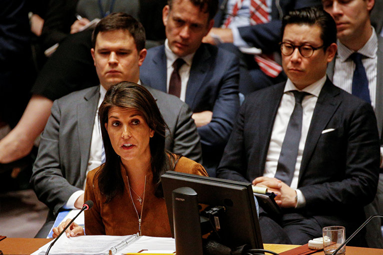 Представитель США в ООН Никки Хейли выступает на заседании Совета безопасности по Сирии в Нью-Йорке