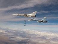 Групповой удар бомбардировщиков Ту-22М3 по позициям ИГ* в Сирии. 26 ноября 2017