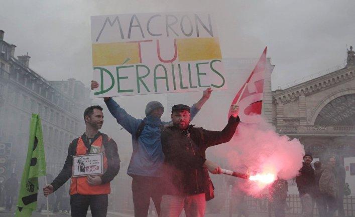 Забастовка работников железных дорог во Франции. 3 апреля 2018