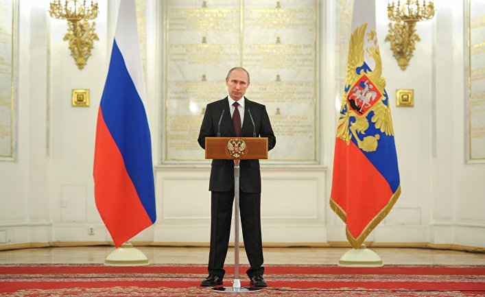 В.Путин на приеме представления в Кремле высших офицеров