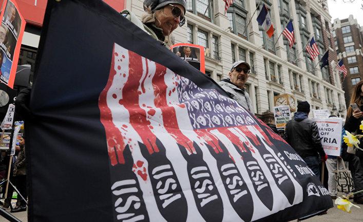 Антивоенная акция протеста в Нью-Йорке