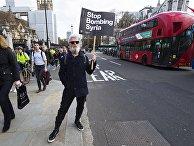 Участник акции протеста против ударов по Сирии в Лондоне
