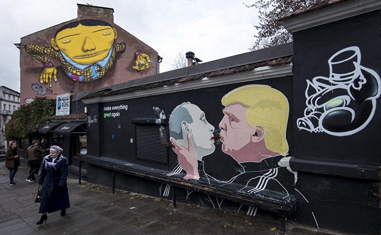 Граффити в старом городе в Вильнюсе