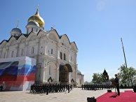 Избранный президент РФ Владимир Путин принимает парад Президентского полка на Соборной площади Московского Кремля. 7 мая 2018