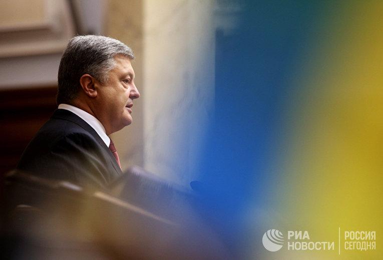 Президент Украины Петр Порошенко во время выступления на заседании Верховной рады Украины. 7 сентября 2017