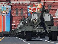 Самоходные артиллерийские установки «Коалиция-СВ» и самоходные артиллерийские установки «Мста-С» на военном параде