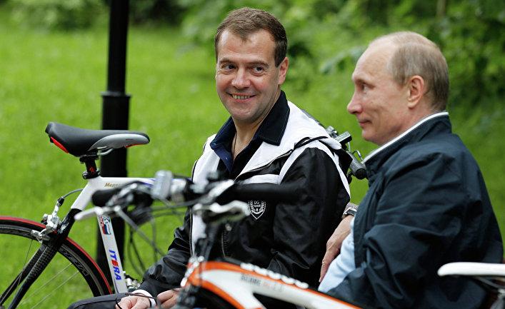 Неформальная встреча Дмитрия Медведева и Владимира Путина