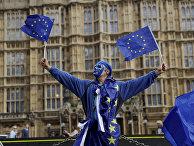 Противник Брексита во время акции протеста в Лондоне