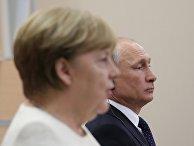 Президент РФ В. Путин встретился с канцлером ФРГ А. Меркель