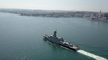 Новейший ракетный корабль «Вышний Волочек» прибыл в Крым: кадры с воздуха