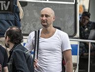 Российский журналист Аркадий Бабченко во время митинга оппозиции в Москве
