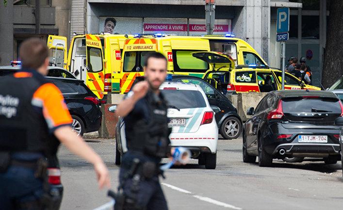 Место стрельбы в городе Льеж, Бельгия. 29 мая 2018