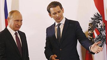 Президент РФ Владимир Путин и Федеральный канцлер Австрии Себастьян Курц