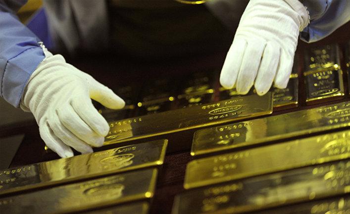 Золотые слитки - готовая продукция Екатеринбургского завода по обработке цветных металлов