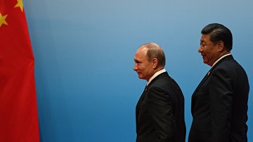 Президент РФ Владимир Путин и председатель КНР Си Цзиньпин во время встречи лидеров БРИКС. 4 сентября 2017