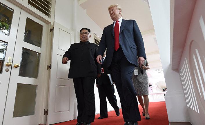 Трамп и Ким Чен Ын на саммите в Сингапуре. 12.06.2018