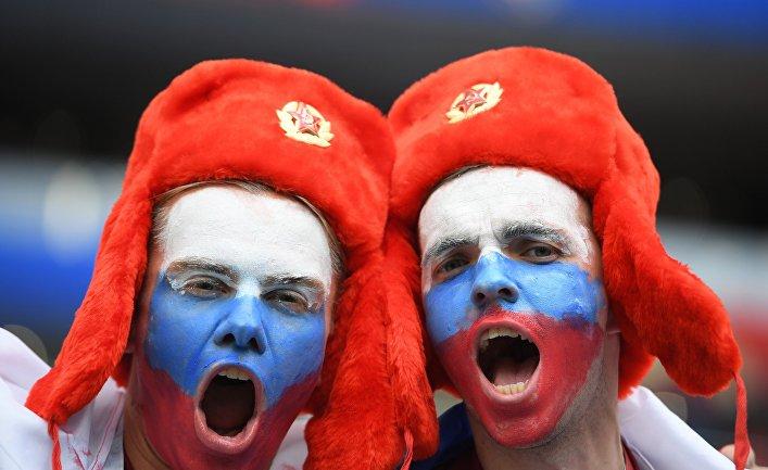 Болельщики перед матчем группового этапа чемпионата мира по футболу между сборными России и Саудовской Аравии