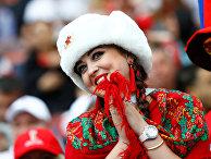 Болельщик сборной России перед матчем между командами России и Саудовской Аравии на стадионе Лужники
