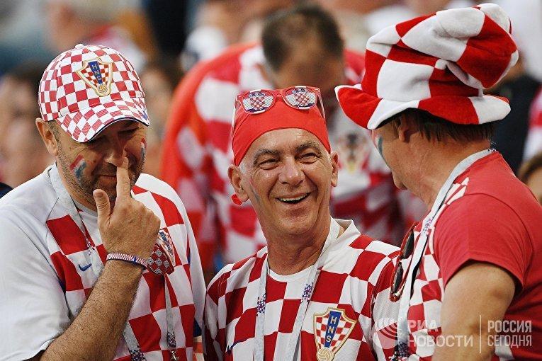 Болельщики сборной Хорватии перед матчем группового этапа чемпионата мира по футболу между сборными Хорватии и Нигерии.