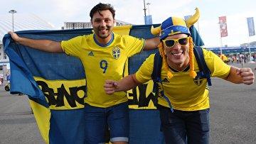 Болельщики перед матчем ЧМ-2018 по футболу между сборными Германии и Швеции