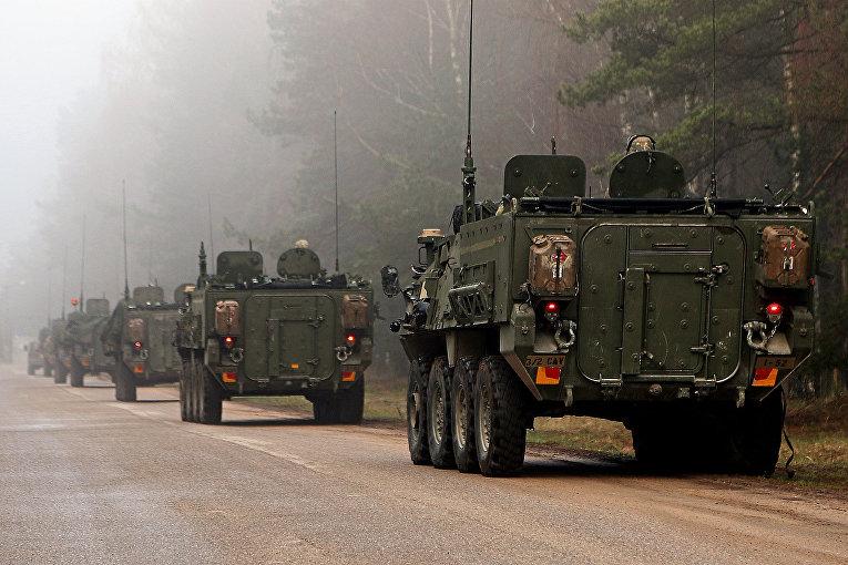 Колонна бронемашин армии США Stryker в Латвии