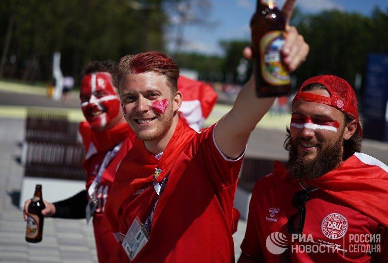 Болельщики перед матчем ЧМ-2018 по футболу между сборными Дании и Австралии