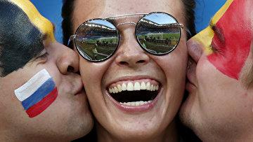 Болельщики на стадионе перед матчем между сборными Бельгии и Японии в Ростове-на-Дону