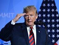 Президент США Дональд Трамп на пресс-конференции после участия в саммите НАТО в Брюсселе, Бельгии. 12 июля 2018