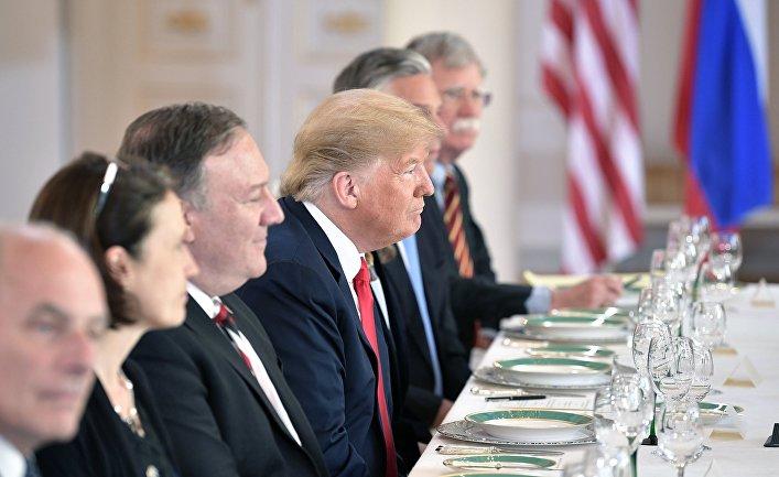 Президент США Дональд Трамп во время российско-американских переговоров, Хельсинки. 16 июля 2018