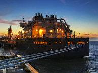 СПГ-танкер ледового класса Arc7 «Владимир Русанов» с продукцией завода «Ямал СПГ» в порту Цзянсу Жудун в КНР