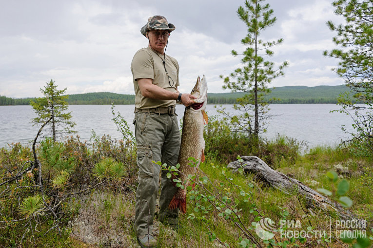 В. Путин и Д. Медведев на отдыхе