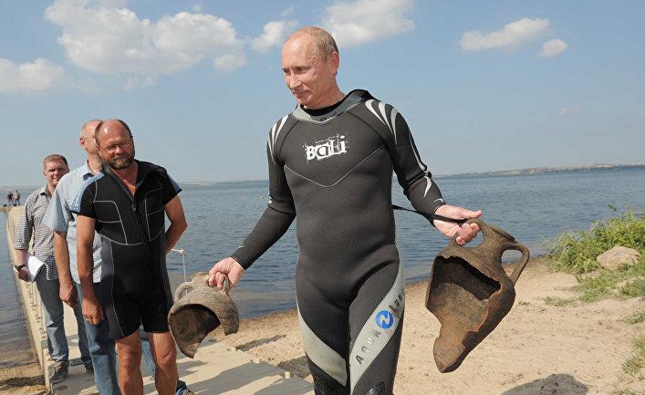 Посещение В.Путиным раскопок на Таманском полуострове