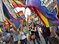 Участники ежегодного гей-парада в Копенгагене