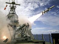 Пуск противокорабельной ракеты US-AGM-84 Harpoon Block II («Гарпун»)