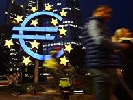 Логотип Центрального европейского банка во Франкфурте