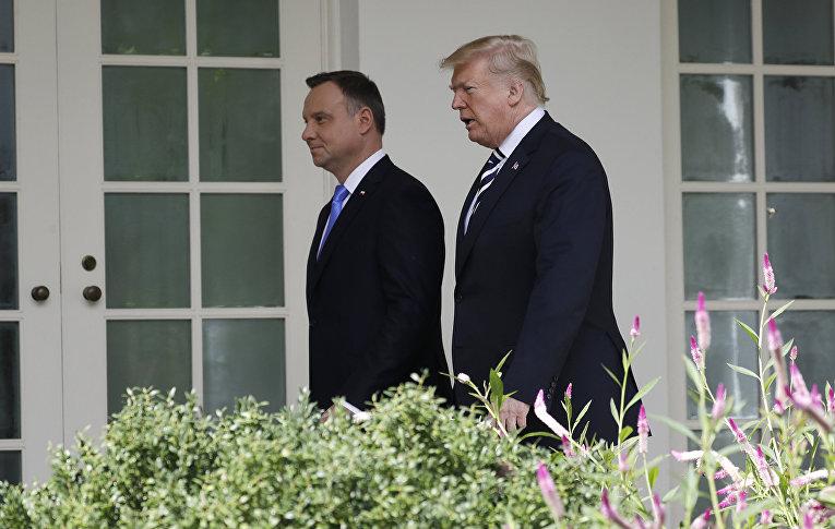 Президент Польши Анджей Дуда во время встречи с президентом США Дональдом Трампом в Вашингтоне