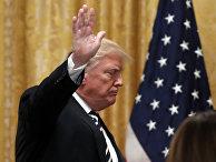 Президент США Дональд Трамп во время пресс-конференции в Овальном кабинете Белого дома в Вашингтоне