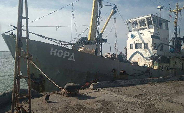 """Задержанное рыболовецкое судно """"Норд"""" в украинской части территориальных вод Азовского моря. 26 марта 2018"""