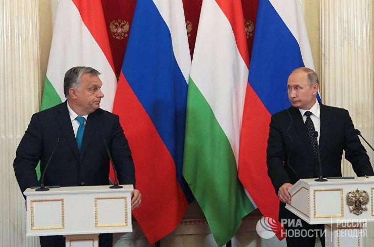 Президент РФ Владимир Путин и премьер-министр Венгрии Виктор Орбан во время совместной пресс-конференции по итогам встречи