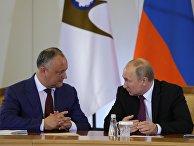 Президент РФ Владимир Путин и президент Молдавии Игорь Додон во время встречи в Сочи. 14 мая 2018
