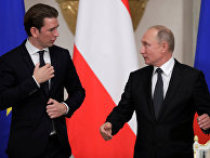 3 октября 2018. Себастьян Курц и Владимир Путин во время встречи в Эрмитаже, Санкт-Петербург