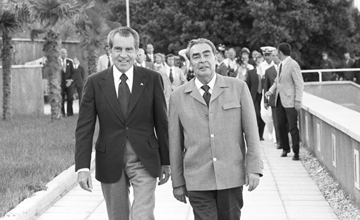 Президент США Ричард Никсон и генсек ЦК КПСС Леонид Брежнев